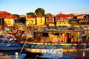 Bulgaria, Europe, Black Sea, Nessebar, Old Town, Seaport, Harbor, Moored Ships and Fishing Boats.