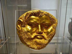 The mask of the Thracian King Teres I (450 – 431 BC), unearthed in a mound at the Valley of the Thracian kings.